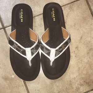 Coach Brown Logo Monogram Flip Flop Sandals Judy